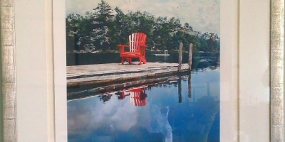 Red Chair in Cottage Country framed 41